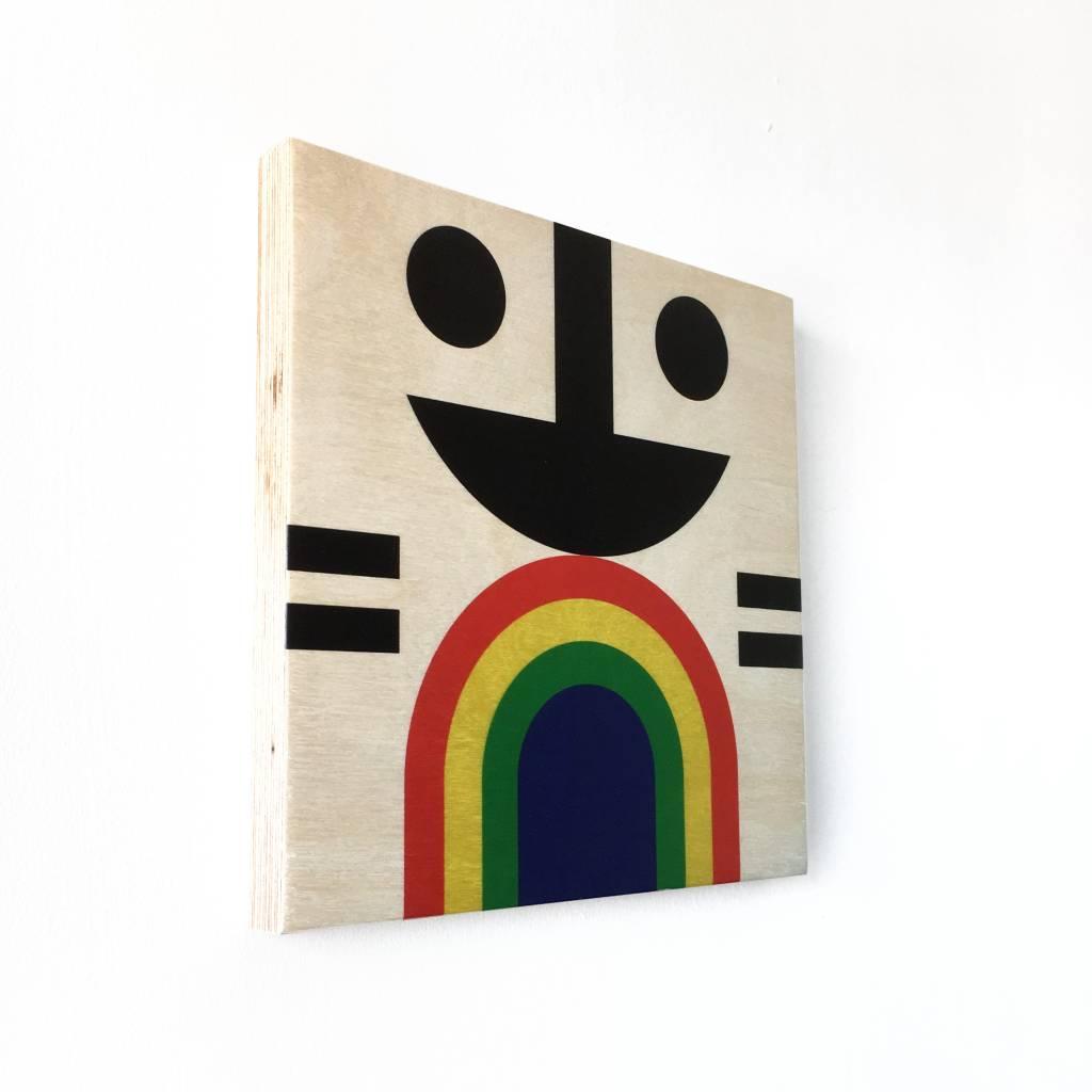 "Wallflower portret op hout ""Suki"""