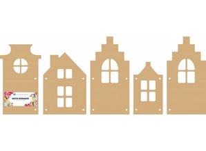 Dutch Doobadoo Dutch MDF Art Houses 5 pcs