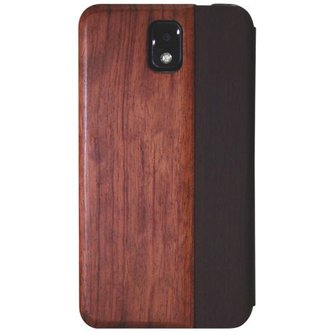 Hout Lederen Flip Cover Samsung Galaxy Note 3