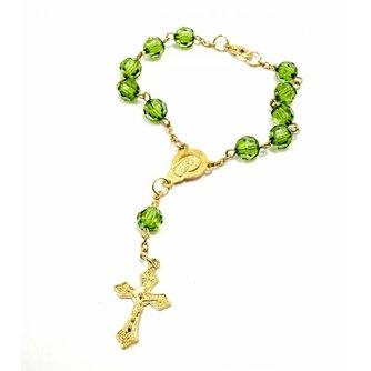 Rozenkrans Armband/Sleutelhanger Doorzichtig Groen