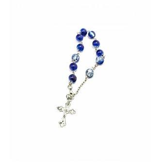 Rozenkrans Armband/Sleutelhanger Doorzichtig Blauwe Kunststof