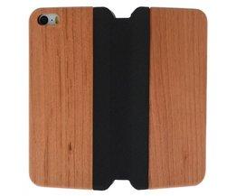 Hout Lederen Flip Cover iPhone 5 / 5S