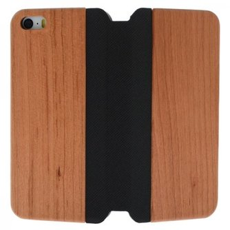 Hout Lederen Flip Cover iPhone 5 / 5S