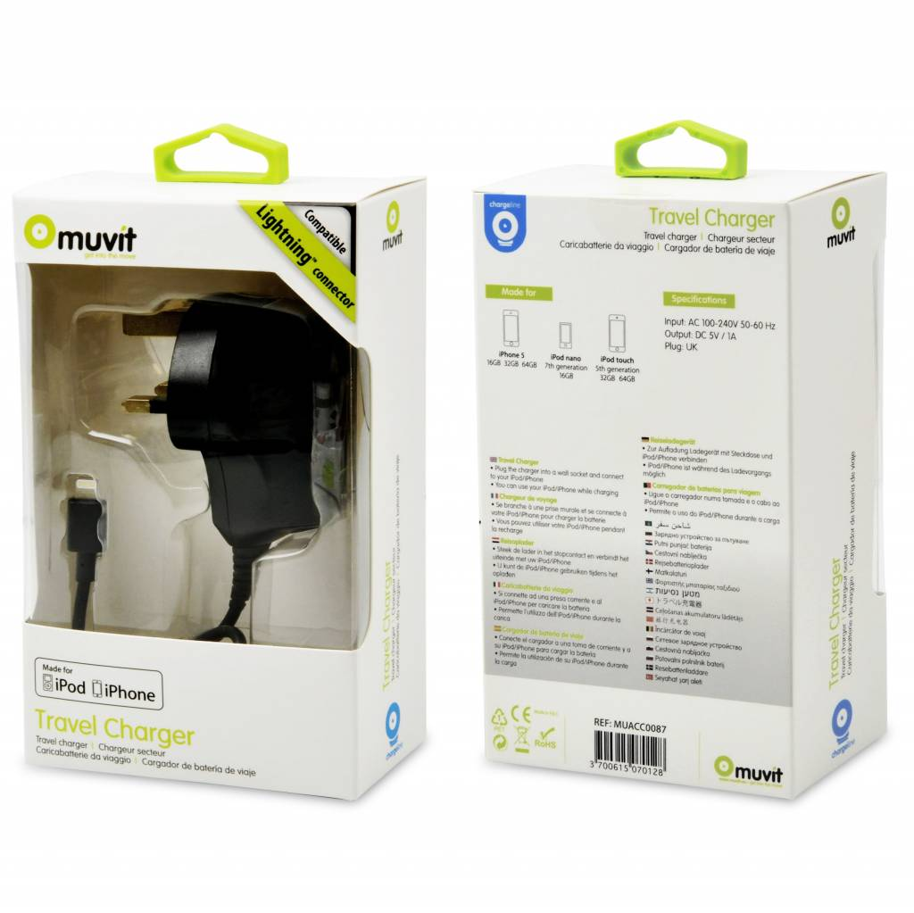 Muvit MUACC0087 oplader voor mobiele apparatuur