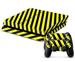 Sticker Zwart/Geel Gestreept voor de Playstation 4