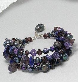 "Bracelet ""Back Pearls and Amethist"""