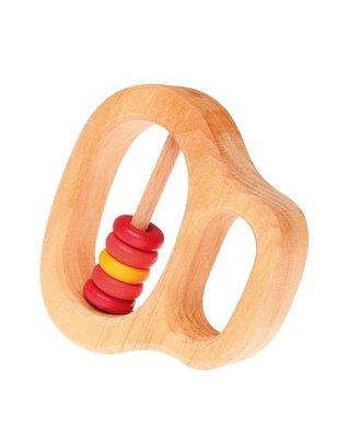 Grimms Rammelaar Roze/Rood, rammelaar en/of bijtring met vijf houten schijfjes
