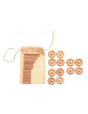 Grimms Expansion Set for Car and Pick-Up, 12 wooden wheels + 22 wooden dowels (axles)