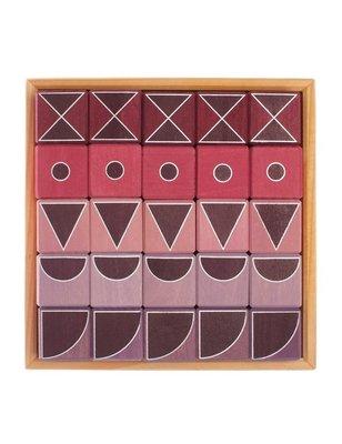 Grimms Geo grafische Blokkendoos Roze, lindehout, niet giftige afwerking