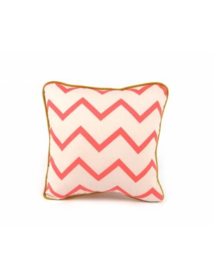 Nobodinoz Pillow Joe Pink ZigZag, 100% cotton, produced in Spain