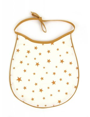 Nobodinoz Mustard Stars bib, cotton produced in Spain, with star pattern