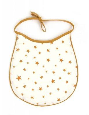 Nobodinoz Mustard Stars bib, cotton produced in Spain, with star pattern