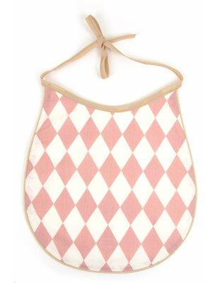 Nobodinoz Pink Diamonds bib, cotton produced in Spain, with diamond pattern