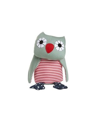 Franck & Fischer Asta Green Owl Plush, 100% cotton, this gray owl is certainly no gray mouse