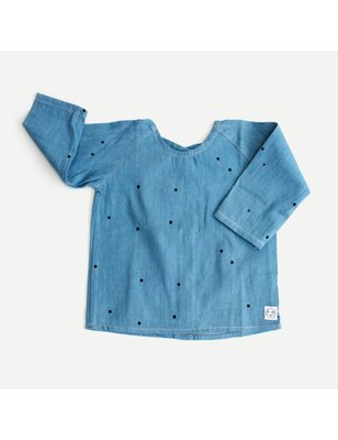 Indikidual Blouse Minkie Bubble top, 100% biologisch katoen, light wash denim