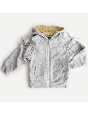 Indikidual Sweater Drama, franjes en capuchon biologisch katoen ongeborstelde binnenkant