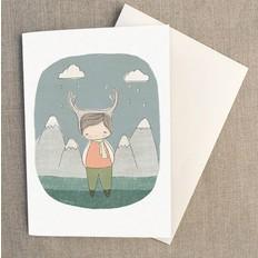 """Nomuu Dubbele kaart , """"Deer boy in the woods"""", geleverd met enveloppe"""