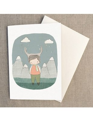 """Nomuu Dubbele kaart, """"Deer boy in the woods"""", geleverd met enveloppe, 220 grs"""