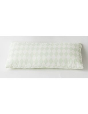 "Nobodinoz Pillow Averell Pink Diamonds, 100% cotton, mint green ""diamonds"" pattern, produced in Spain"