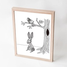 "George with ears A4 print, ""Rabbit and bird"""