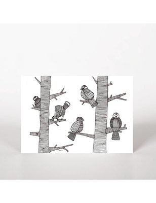 "George with ears Ansichtkaart, ""Birds I"", biotop paper, FSC, chloorvrij TFC, 300 grs"