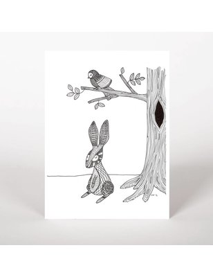 """George with ears Postcard, """"Rabbit and bird"""", biotop paper, FSC, chlorinefree TFC, 300 grs"""