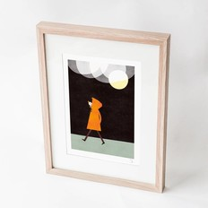 "Blanca Gómez A4 print, ""Rainy night in a orange coat"""