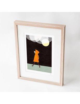 "Blanca Gómez A4 print, ""Rainy night in a orange coat"", 190 grs"