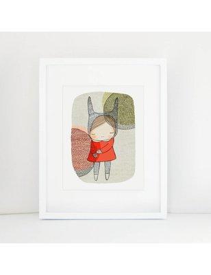 "Nomuu A4 print, ""Bunny girl with circles"", 308 grs, milieu vriendelijk, acid free, Cotton Rag Paper"