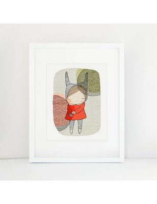 "Nomuu A4 print, ""Bunny girl with circles"", Photo Rag Paper, 100% cotton, acid free, eco friendly, 308 grs"
