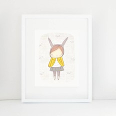 "Nomuu A4 print, ""Bunny girl yellow coat """
