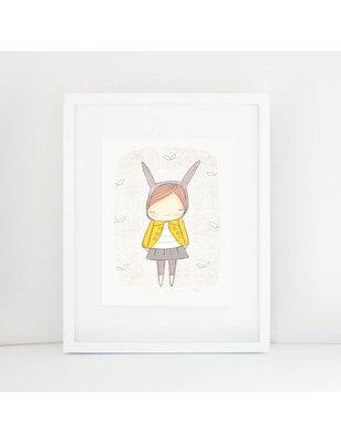 "Nomuu A4 print, ""Bunny girl yellow coat"", 308 grs, milieu vriendelijk, acid free, Cotton Rag Paper"