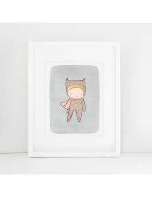 "Nomuu A4 print, ""Bear girl"", 308 grs, milieu vriendelijk, acid free, Cotton Rag Paper"