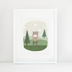 "Nomuu A4 print, ""Perry the bear in the forrest"""