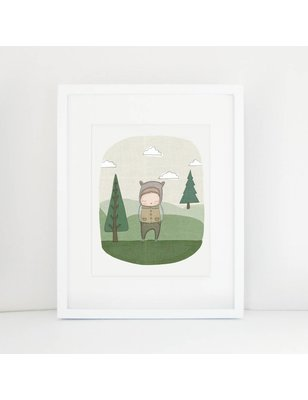 "Nomuu A4 print, ""Perry the bear in the forrest"", Photo Rag Paper, 100% cotton, acid free, eco friendly, 308 grs"