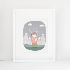 "Nomuu A4 print, ""Deer boy Swiss mountains"""