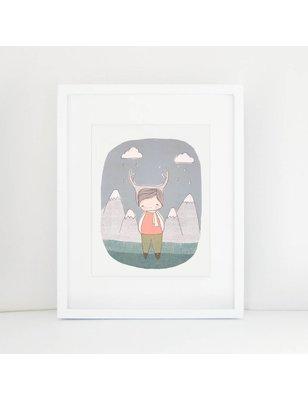 "Nomuu A4 print, ""Deer boy Swiss mountains"", 308 grs, milieu vriendelijk, acid free, Cotton Rag Paper"