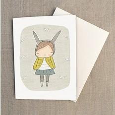"""Nomuu Dubbele kaart, """"Bunny girl yellow coat"""", geleverd met enveloppe"""
