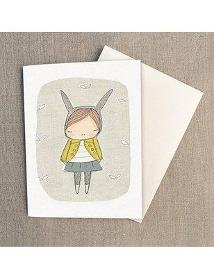 """Nomuu Dubbele kaart , """"Bunny girl yellow coat"""", geleverd met enveloppe, 220 grs"""