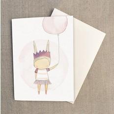 """Nomuu Dubbele kaart, """"Ballerina bunny rabbit"""", geleverd met enveloppe"""