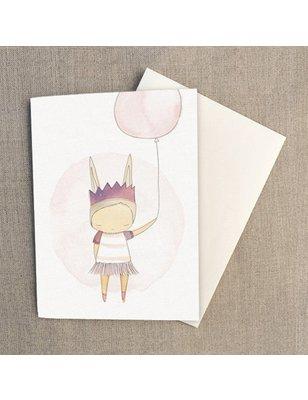 """Nomuu Dubbele kaart, """"Ballerina bunny rabbit"""", geleverd met enveloppe, 220 grs"""