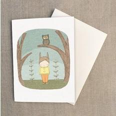 """Nomuu Double card (A6), """"Milke bunny rabbit and owl"""""""