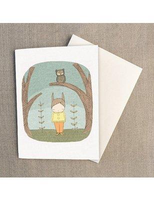 """Nomuu Double card (A6), """"Milke bunny rabbit and owl"""", 220 grs"""