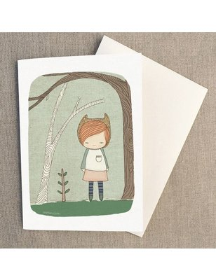 """Nomuu Dubbele kaart , """"Lively in the woods"""", geleverd met enveloppe, 220 grs"""