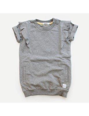 Indikidual Frill sleeve t-shirt dress, 100% biologisch katoen, ongeborstelde binnenkant