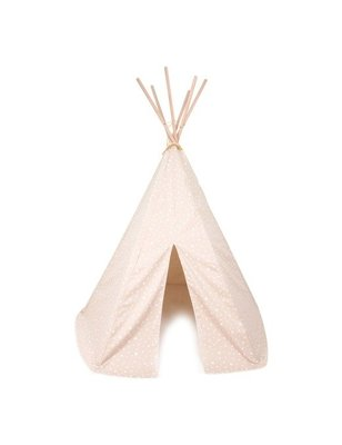 Nobodinoz Tipi Tent Arizona Sand and White Stars, Local heroes, geproduceerd in Spanje, hout, niet giftige coating, printed cotton twill.