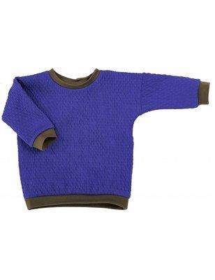 Macarons Sweater Pauli, blue/honey, organic merino wool / cotton
