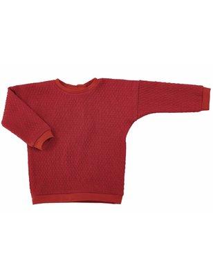 Macarons Sweater Pauli, rose/red/peach, organic merino wool / cotton