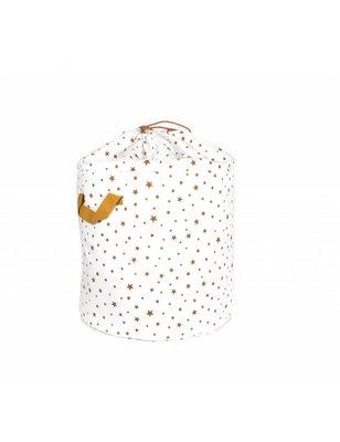 Nobodinoz Toybag Baobab big, White and Beige Stars, printed cotton twill