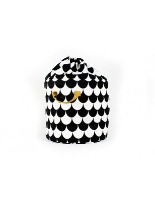 Nobodinoz Toybag Baobab small, Black Scales, printed cotton twill.